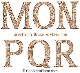 m, alphabet, paisley, henné
