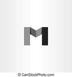 m black icon letter logo vector sign
