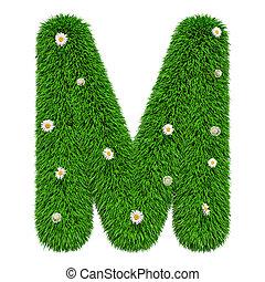 m, bloemen, vertolking, groene, brief, gras, 3d