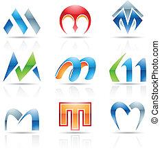 m, brillante, carta, iconos