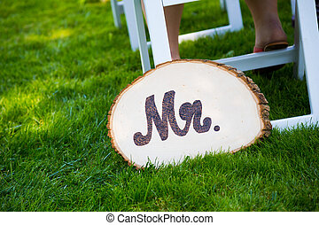 m., bruidegom, trouwfeest, meldingsbord