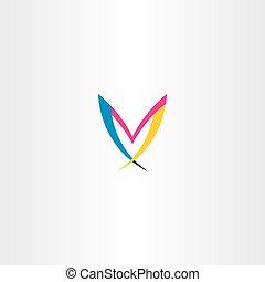 m colorful letter logo symbol vector icon