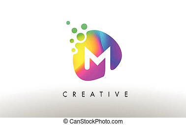 M Colorful Logo Design Shape. Purple Abstract Shape Letter Icon.