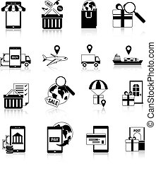 m-commerce, blanc, ensemble, noir, icônes