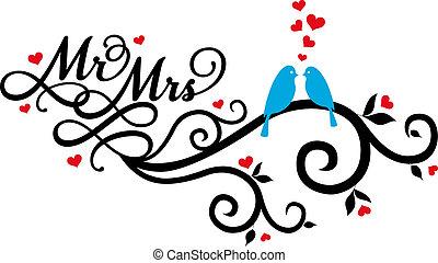 m., en, mevr., trouwfeest, vogels, vector