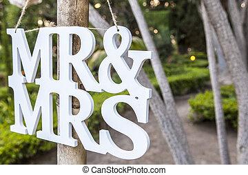 m., en, mevr., wit huwelijk, brieven, hangend teken