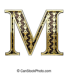 m golden letter 3d illustration
