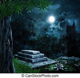 m, halloween, lápida, plano de fondo, celebración