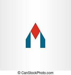 m house logo letter icon home vector sign