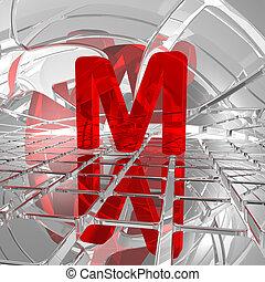 m in futuristic space - red uppercase letter m in futuristic...
