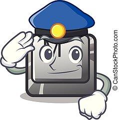m, knoop, mascotte, politie, toetsenbord