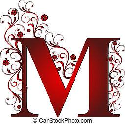m, letra, vermelho, capital