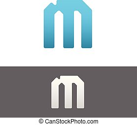 M Letter Alphabet Abstract vector text logo