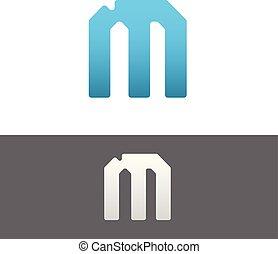 M Letter Alphabet Abstract vector text logo