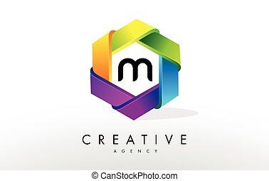 M Letter Logo. Corporate Hexagon Design
