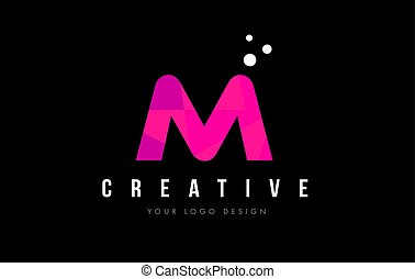 M Letter Logo with Purple Low Poly Pink Triangles Concept