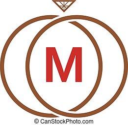 M Letter Ring Diamond Logo - Logo Template