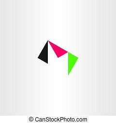 m letter triangle logo icon vector