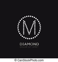 M letter with diamonds