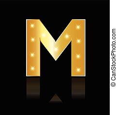 M letter with glowing lights logo