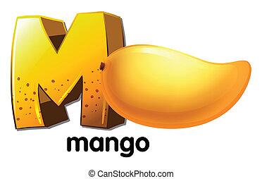 m, lettera, mango