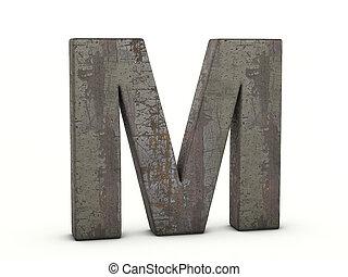 m, lettre, métal rouillé