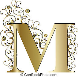 m, lettre, or, capital
