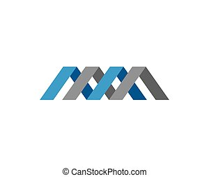 m, litera, logo, szablon