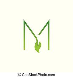 m, logo, blatt, brief, entwerfen elemente