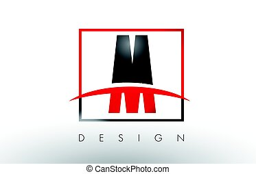 M Logo Letters with Red and Black Colors and Swoosh....