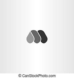 m, logotype, wektor, czarnoskóry, litera, logo, ikona