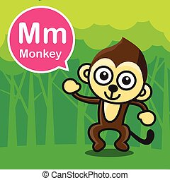 M Monkey color cartoon and alphabet for children to learning vector illustration eps10