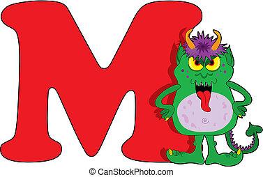 m, monstre, lettre
