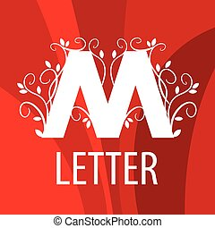 m, muster, vektor, brief, gemüse, logo