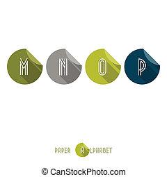 M N O P -Flat Design Paper Button Alphabet - Vector Illustration