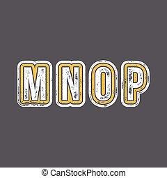 m, n, o, p, -, grunge, colorido, retro, tipo