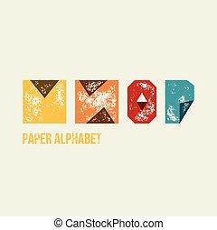 m, n, o, p, -, grunge, retro, papel, tipo, alfabeto