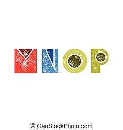 m, n, o, p, -, resumen, grunge, retro, alfabeto, de, simple, formas geométricas