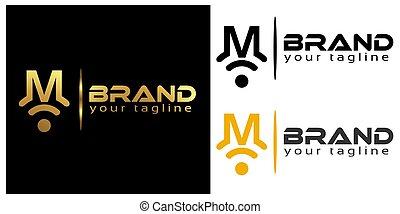 M online logo template, stock logo template.