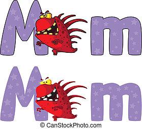 m, potwór, litera