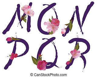 m, printemps, lettres, alphabet