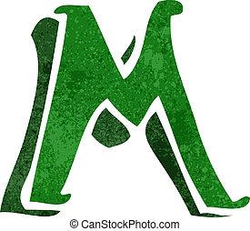 M,  Retro, carta, caricatura