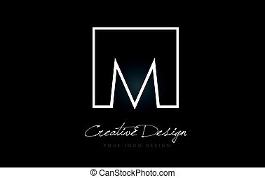 M Square Frame Letter Logo Design with Black and White Colors.