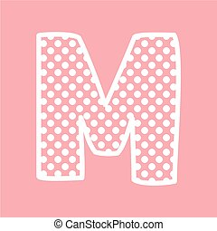 M vector alphabet letter with dots