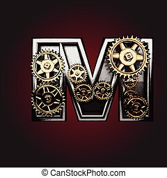 m vector letter with gears