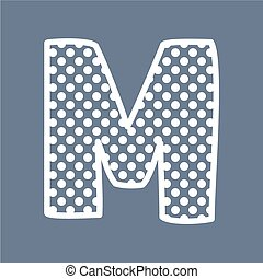 M vector polka dots alphabet letter