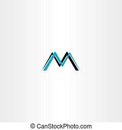 m, vektor, svart, brev, cyan, logo, ikon