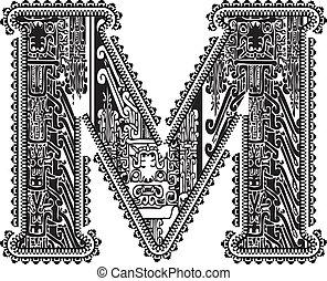 m., vettore, antico, lettera, illustrazione