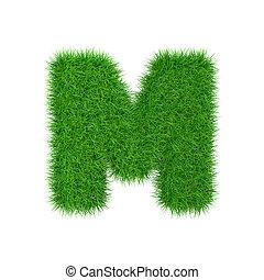 m, vrijstaand, illustratie, brief, witte , gras, 3d