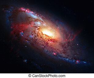 M106, Spiral Galaxy in the constellation Canes Venatici. -...